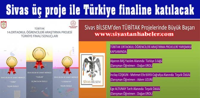 Sivas üç proje Türkiye finaline katılacak
