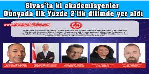 Sivas'ta ki akademisyenler Dünyada İlk Yüzde 2'lik dilimde yer aldı