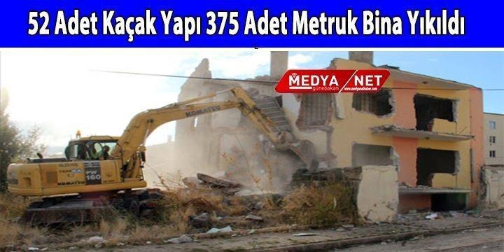 52 Adet Kaçak Yapı 375 Adet Metruk Bina Yıkıldı