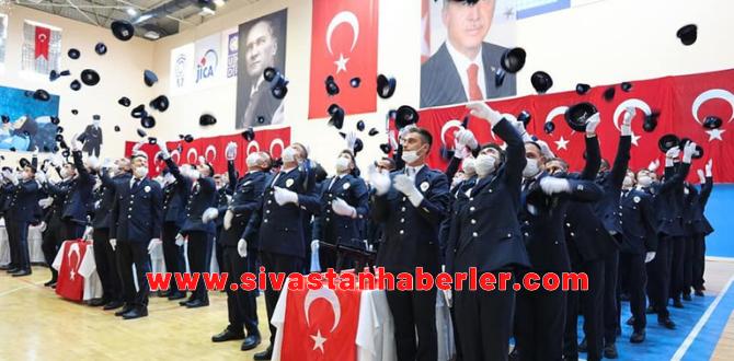 Sivas'ta Polis Adaylarının Mezuniyet Sevinci