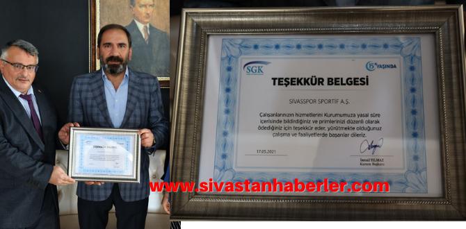 SGK'dan Sivasspor'a Teşekkür Belgesi
